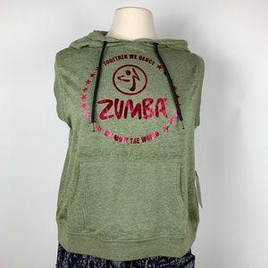 NWT ZUMBA S Open Back Sleeveless Hoodie Army Green
